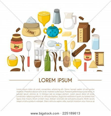 Vector Cartoon Baking Ingredients Background
