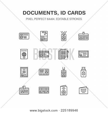 Documents, identity vector flat line icons. ID cards, passport, press access student pass, visa, migration certificate, token legal contract illustration. Notarial office signs. Pixel perfect 64x64.