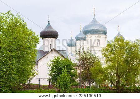 Veliky Novgorod, Russia. Zverin Intercession monastery -church of Simeon the God receiver and Intercession Cathedral in Veliky Novgorod, Russia