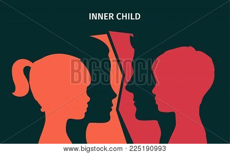 Concept of inner child. Silhouette of a man and woman showing their inner child living in their mind. Flat design, vector illustration.