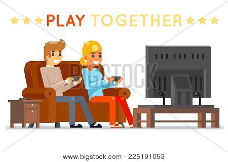 Play together gamer young girl boy watching tv playing game sit couch character cartoon flat design vector illustration