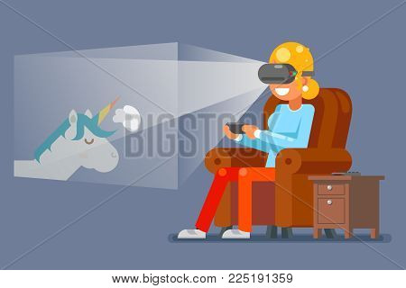 Virtual Reality Glasses Gamer Young Girl Playing Game Sit Armchair Character Cartoon Flat Design Vector Illustration