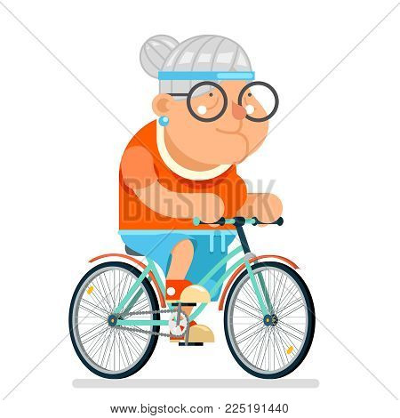 cycling Fitness Granny Adult Healthy Activitie Ride Bicycle Old Age Woman Cartoon Character Flat Design Vector illustration