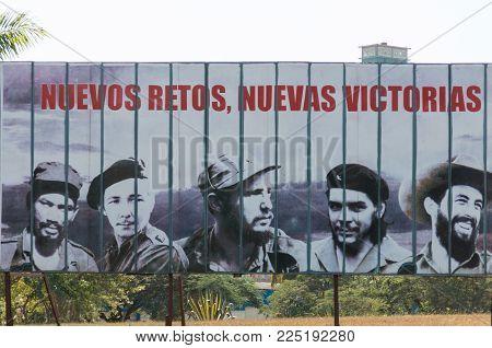 HAVANA, CUBA - JANUARY 16, 2017: The propaganda poster