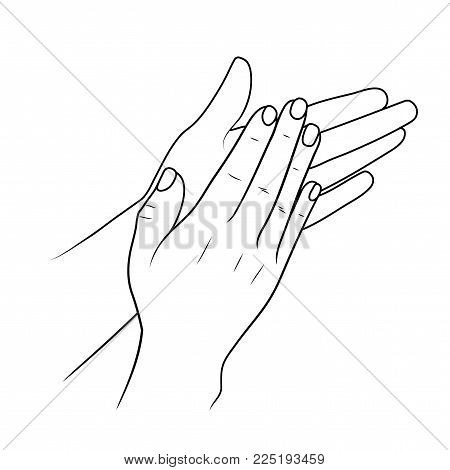 clapping hands or applauding. linear illustration or sketch by black stroke. Vector