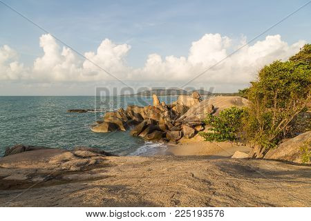 Grandmother And Grandfather Rocks Mountain Natural On Koh Samui In Lamai Beach Thailand