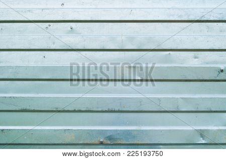 Industrial Metal Background. Corrugated Zinc Metal Texture. Corrugated Zinc Texture Of Metal Fence,