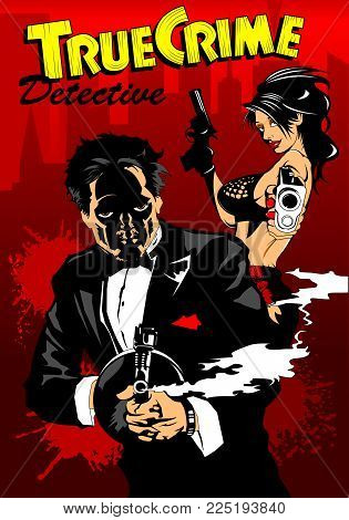 Man and woman in black suits with a weapon, vector and illustration