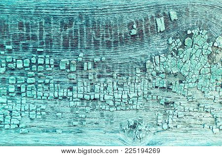 Texture Background Of Peeling Paint - Turquoise Peeling Paint On The Wooden Texture Surface, Close U