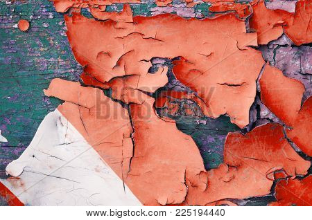 Texture Background Of Peeling Paint - Red Peeling Paint On The Wooden Texture Surface, Close Up Of P