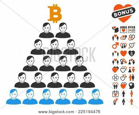 Bitcoin Ponzi Pyramid pictograph with bonus valentine icon set. Vector illustration style is flat iconic symbols.