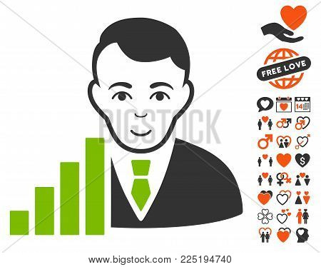 Stock Trader pictograph with bonus lovely pictograph collection. Vector illustration style is flat iconic symbols.