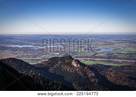 Beautiful panorama view from the Herzogstand mountain to munich and its surrounding areas