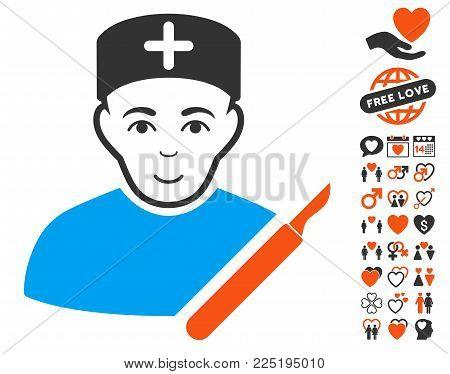Surgeon pictograph with bonus passion clip art. Vector illustration style is flat iconic symbols.