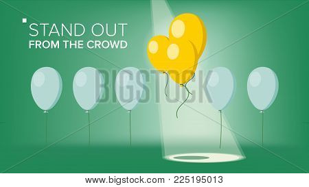 Stand Out From The Crowd Vector. Outstanding Flying Balloon On light Different From Other. Business Success. Good Idea, Independence. Flat Illustration