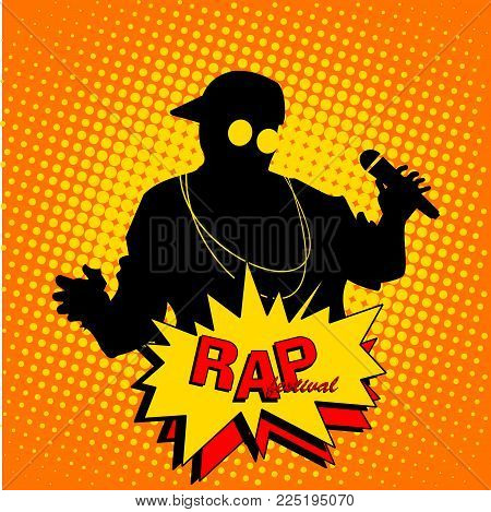 Vector silhouette of the artists of hip hop. A live performance on stage