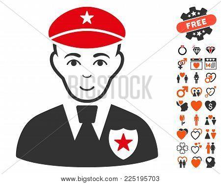 Sheriff icon with bonus dating design elements. Vector illustration style is flat iconic symbols.