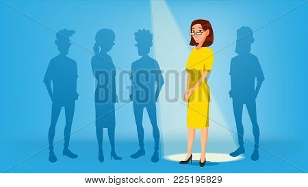 Woman Stand Out From The Crowd Vector. Job And Staff, Human And Recruitment. Business Success. Good Idea, Independence, Leadership. Illustration