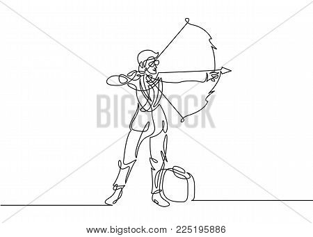 Continuous one drawn line of businessman manager silhouette shooting with a bow arrow. Businessman aiming target. Concept business vector illustration.