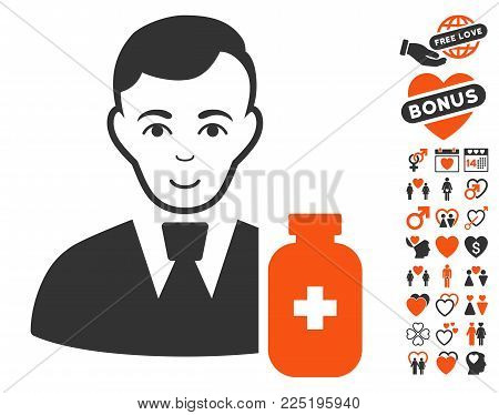 Medical Pharmacist pictograph with bonus valentine pictures. Vector illustration style is flat iconic symbols.