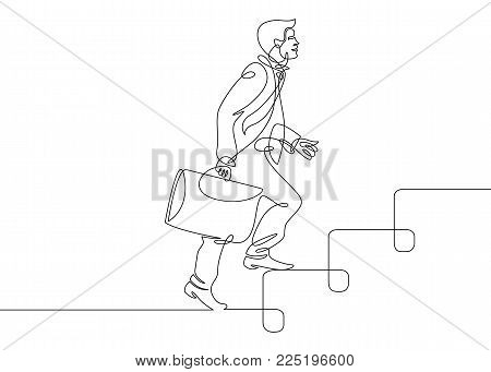 Continuous one drawn line man manager climbs the stairs. A metaphor for reaching the goal and lifting up the career ladder of a businessman.