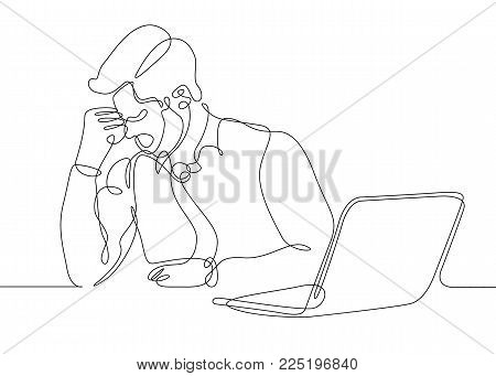 continuous line drawing thinking man businessman behind laptop