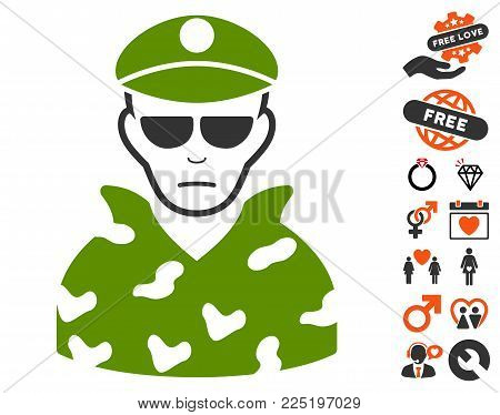 Soldier icon with bonus marriage design elements. Vector illustration style is flat iconic symbols.