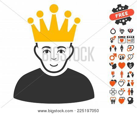 Moderator pictograph with bonus dating pictograph collection. Vector illustration style is flat iconic symbols.