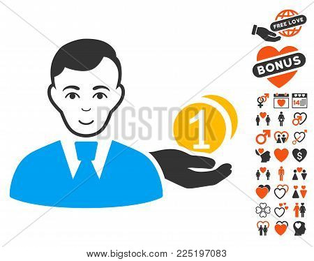 Money Payer pictograph with bonus romantic images. Vector illustration style is flat iconic symbols.