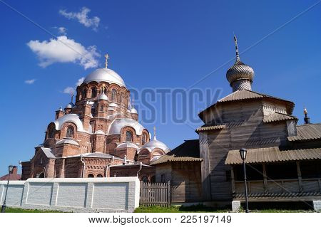 Cathedral of the Icon of the Mother of All the Afflicted on the island of Sviyazhsk, a popular tourist place, Tatarstan, Russia