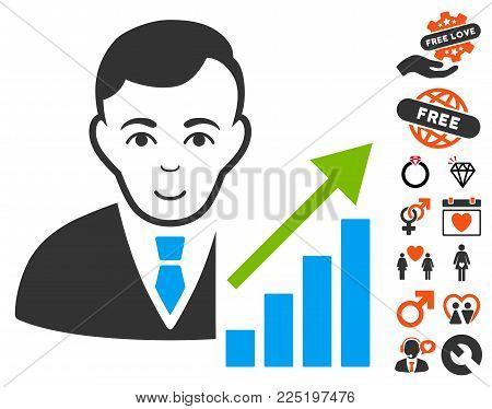 Stock Trader icon with bonus romantic clip art. Vector illustration style is flat iconic symbols.
