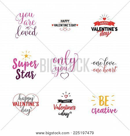 Relationship bond lettering set. Valentines day, love, holiday. Calligraphy, handwritten text can be used for greeting cards, posters, banners, festive designs, leaflets