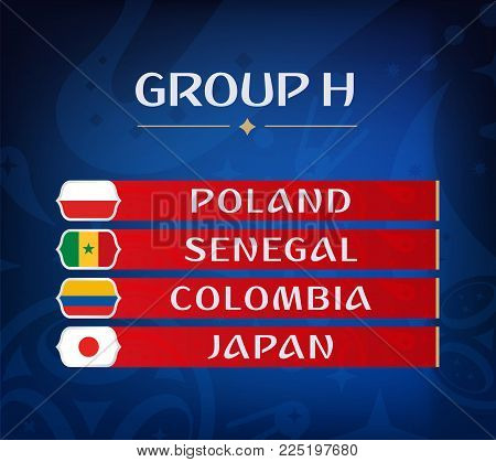 Football championship groups. Set of national flags. Draw result. Soccer world tournament. Group H