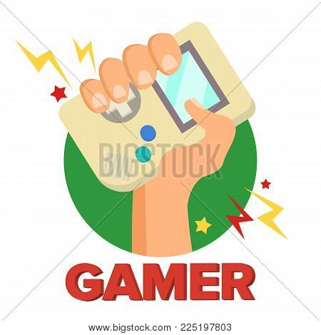 Gamer Concept Vector. Games Digital Design. Portable Console, Controller Symbol, Gamepad. Old Gadget. Game boy. Isolated Cartoon Illustration