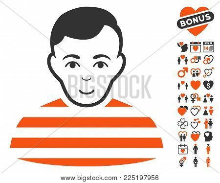 Prisoner pictograph with bonus amour pictures. Vector illustration style is flat iconic symbols.