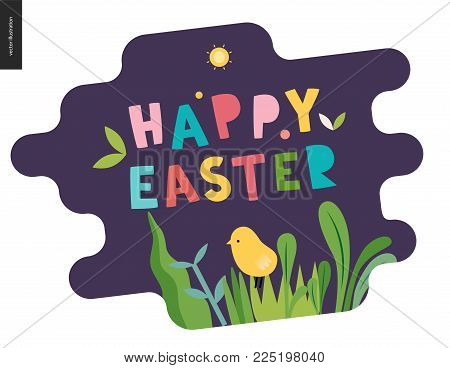 Happy easter lettering surrounded with traditional elements - egg, tulip, grass
