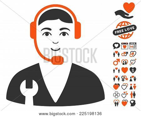 Service Operator pictograph with bonus amour graphic icons. Vector illustration style is flat iconic symbols.