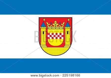 Flag of Plettenberg is a town in the Maerkischer Kreis, in North Rhine-Westphalia, Germany. Vector illustration