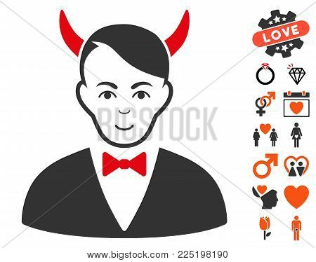 Satan pictograph with bonus passion symbols. Vector illustration style is flat iconic symbols.
