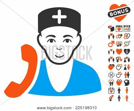 Medical Receptionist icon with bonus love pictograms. Vector illustration style is flat iconic symbols.