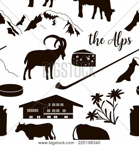 The Alps flat icons. hand drawn vector seamless pattern big set. Mountain Matterhorn, Alpine ibex, chalet, edelweiss flower, alpenhorn, chalet, goat, cow, chocolate, milk can, cheese mont blanc