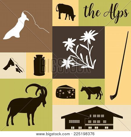 The Alps flat icons. hand drawn vector illustration squared big set. Mountain Matterhorn, Alpine ibex, chalet, edelweiss flower, alpenhorn, chalet, goat, cow, chocolate, milk can, cheese mont blanc