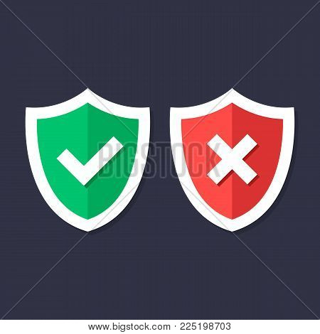 Shields and check marks icons set. Red and green shield with checkmark and x mark. Protection, safety, security, reliability concepts. Modern flat design graphic elements. Vector icons