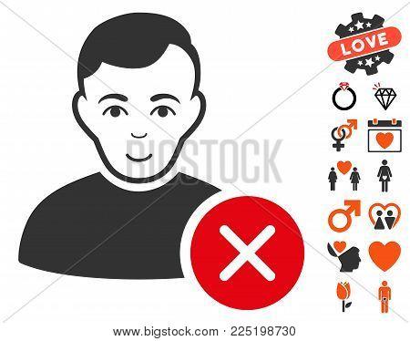 User Delete icon with bonus marriage design elements. Vector illustration style is flat iconic symbols.