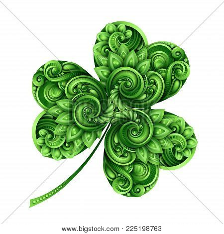 Decorative Clover Leaf Talisman. Colored Doodle St Patrick Day Design Element. Elegant Natural Motif with Triskel Celtic Symbol. Greeting Card Ornaments. Vector 3d Illustration. Abstract Ornate Art