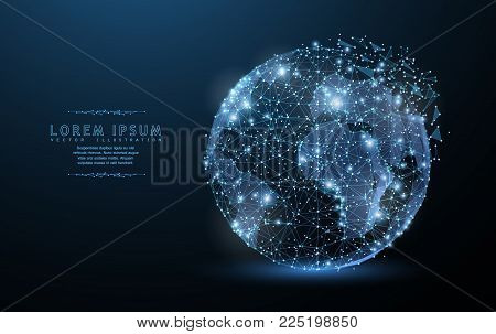 Globe. Polygonal wireframe mesh icon with crumbled edge on blue night sky with dots, stars and looks like constellation. Tr, internet, Earth or other concept illustration or background