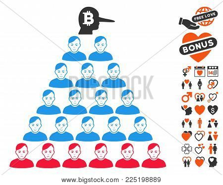 Bitcoin Ponzi Pyramid Manager pictograph with bonus love clip art. Vector illustration style is flat iconic symbols.