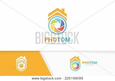 Vector camera shutter and real estate logo combination. Lens and house symbol or icon. Unique photo and rent logotype design template.
