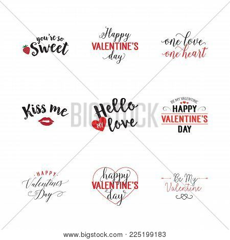 Special occasion for two lettering set. Valentines day, heart, love. Calligraphy, handwritten text can be used for greeting cards, posters, banners, festive designs, leaflets