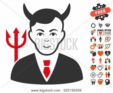 Satan pictograph with bonus marriage pictures. Vector illustration style is flat iconic symbols.